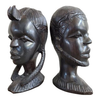 African Ebony Wood Male & Female Busts, a Pair For Sale