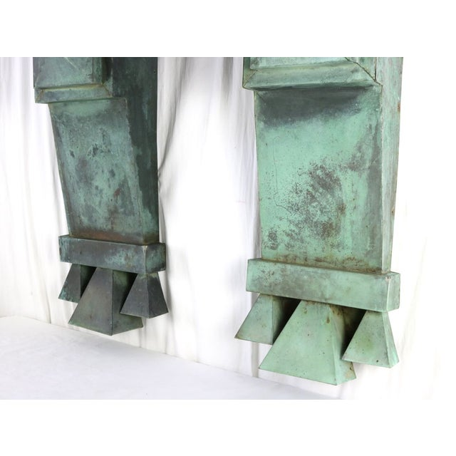 Industrial Antique Green Copper Architectural Brackets - a Pair For Sale - Image 3 of 10