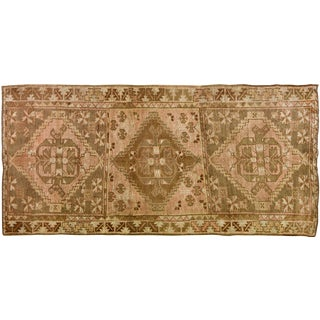 1930s Traditional Turkish Brown and Pink Wool Oushak Rug - 4'7''x9'8''
