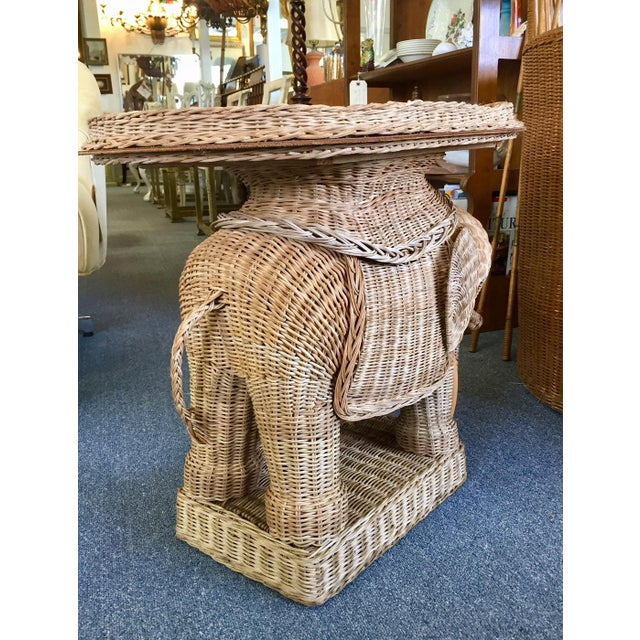 Vintage Woven Rattan Elephant Tray Table For Sale In West Palm - Image 6 of 8