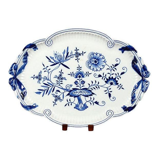 Antique Meissen Floral Oval Tray For Sale
