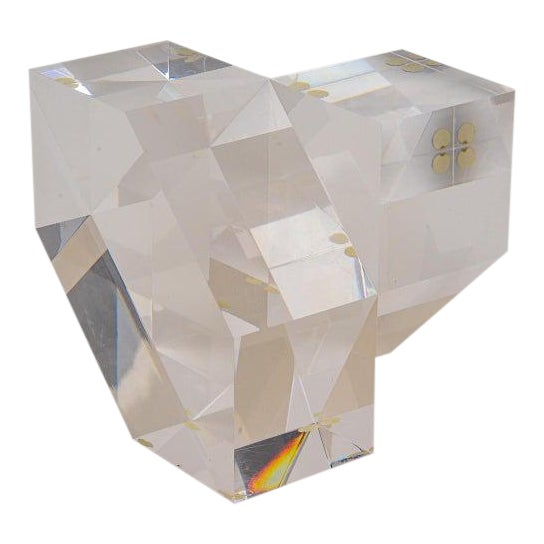Geometric Form Lucite Sculpture For Sale