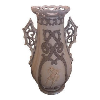Italian Rococo Faiance Style Embossed Pottery Vase