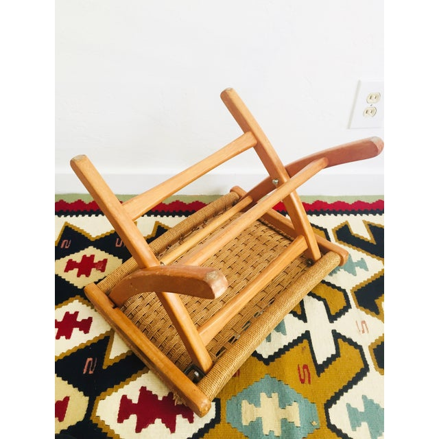 Brown Mid Century Hans Wegner Style Folding Rope Stool For Sale - Image 8 of 10