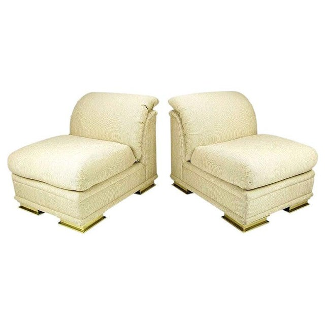 Pair of Henredon Deco Revival Slipper Chairs in Taupe Silk and Brass For Sale - Image 10 of 10