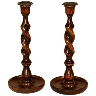 Late 19th Century Barley Twist Oak Candlesticks - a Pair For Sale