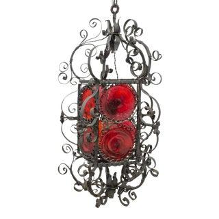 19th/20th Century Continental Spanish Revival Bullseye Glass Hanging Lantern For Sale