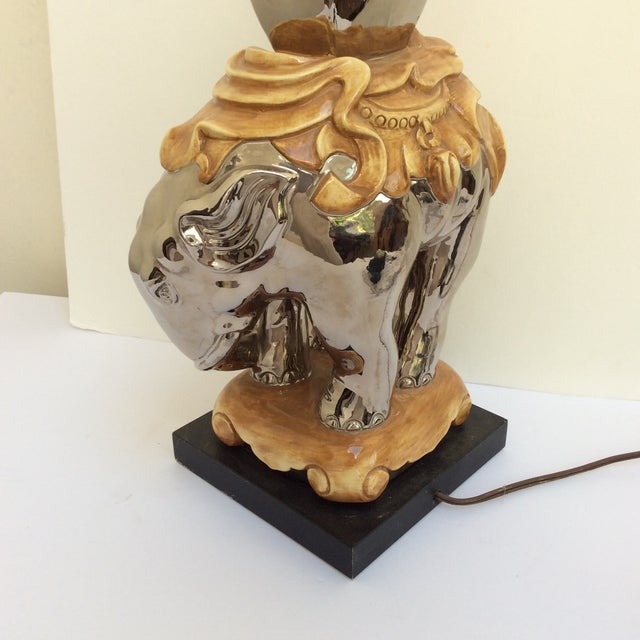 Mercury Style Finish Ceramic Elephant Lamp For Sale - Image 5 of 8