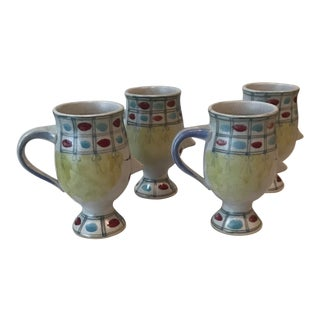 Bjorn Wiinblad Handled Face Coffee Mugs - Set of 4 For Sale