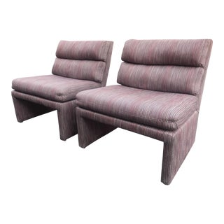 Custom Upholstered 1980s Lounge Chairs A Pair