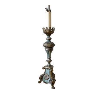 Vintage Baroque Style Claw Foot Brass and Verdigris Tall Table Lamp For Sale
