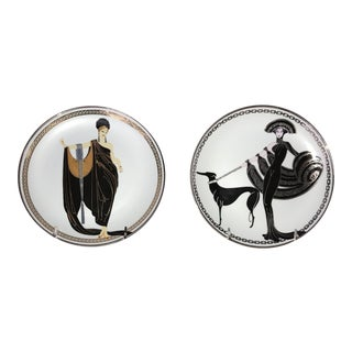 Erte Art Deco Plates - a Pair For Sale
