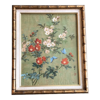 Vintage Original Chinese Floral Painting With Butterflies Original Frame For Sale