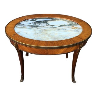 Antique Petit Gilt Bronze Louis XVI Style Marble Top Oval Coffee Cocktail Table For Sale