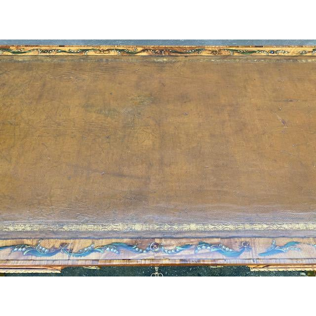 Brown Fine Early 19th C. English Painted Satonwood Desk With Leather Top For Sale - Image 8 of 13