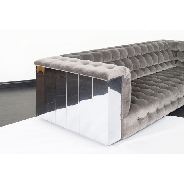 "Mid-Century Modern Vintage Chrome ""Cityscape"" Sofa For Sale - Image 3 of 9"