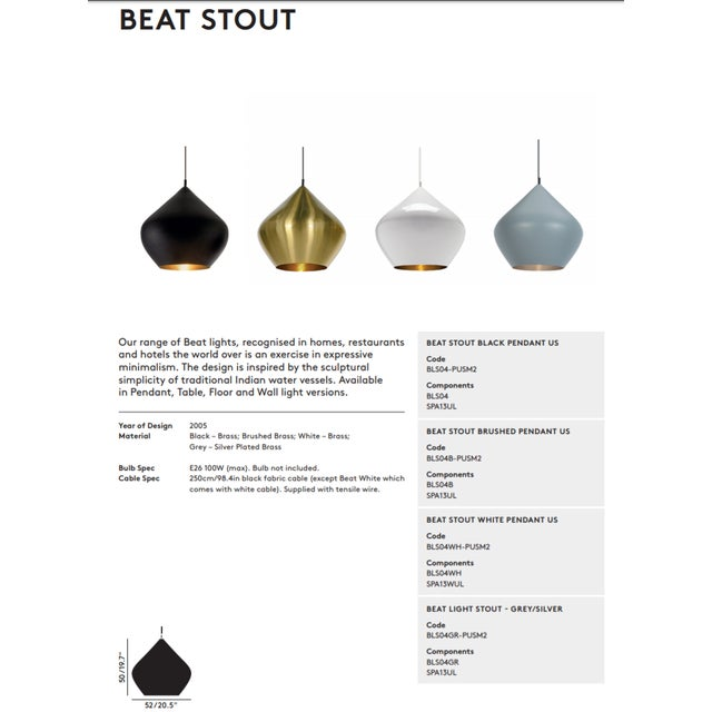 Tom Dixon Beat Stout Pendant Grey For Sale In Los Angeles - Image 6 of 8