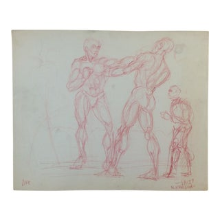 Boxing Male Nude Figure Studies by Karson 1920s For Sale