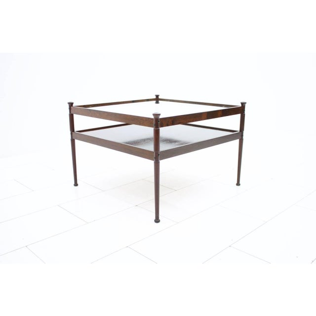 Mid-Century Modern Scandinavian Glass and Wood Coffee Table 1960s For Sale - Image 3 of 5