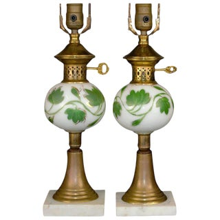 Ivy Decorated Brass Table Lamps For Sale