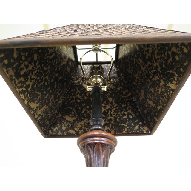 Carved Oak Lamps with Bronze Bases & Leather Shade - A Pair For Sale - Image 9 of 11