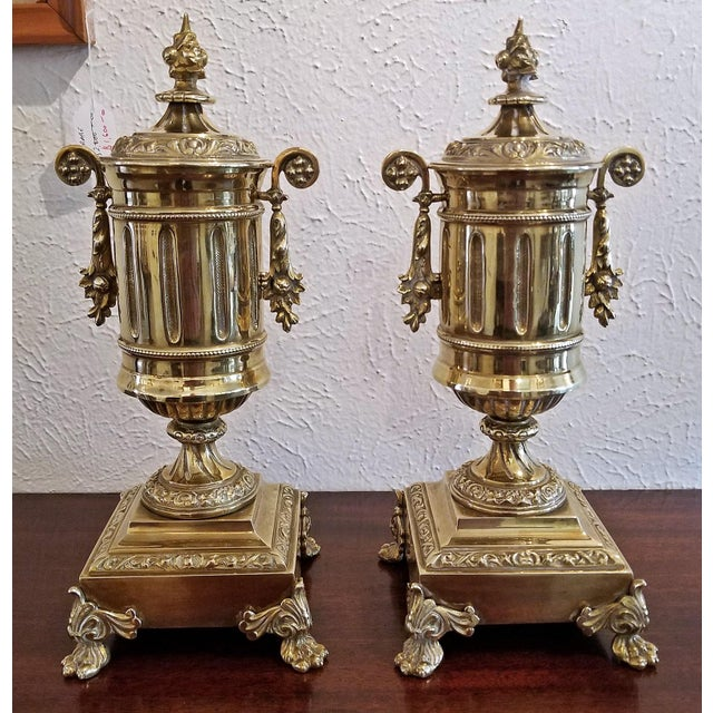 Pair of 19c French Neoclassical Style Brass Garnitures For Sale - Image 13 of 13