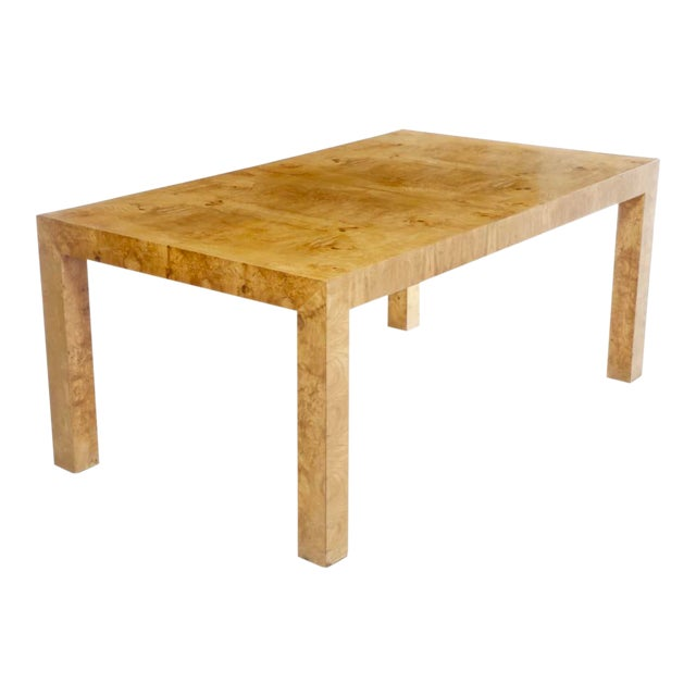 1970s Mid-Century Modern Milo Baughman for Thayer Coggin Burl Dining Table For Sale
