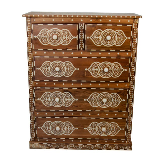 Indian Bone Inlay 5-Drawer Dresser For Sale - Image 4 of 4