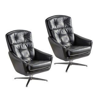 Pair of Black Vinyl Lounge Chairs by Selig Circa 1960s