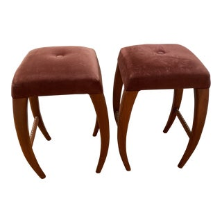Dialogica Mauve Upholstered Counter Stools - a Pair For Sale