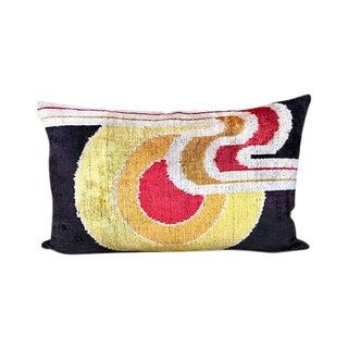Kim Salmela Modern Color Blocking Turkish Silk Velvet Ikat Pillow For Sale