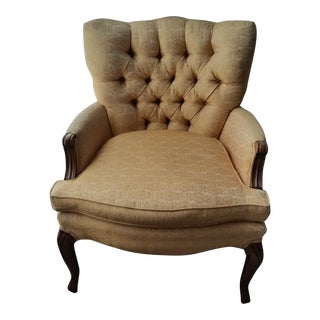 Cheerful Yellow French Provincial Style Tufted Club Chair For Sale