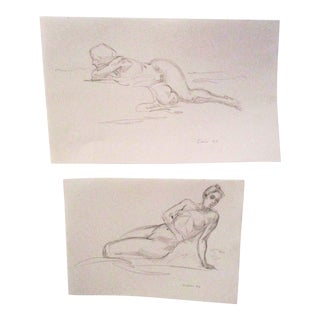 Signed Original Figurative Artist Sketches - a Pair For Sale