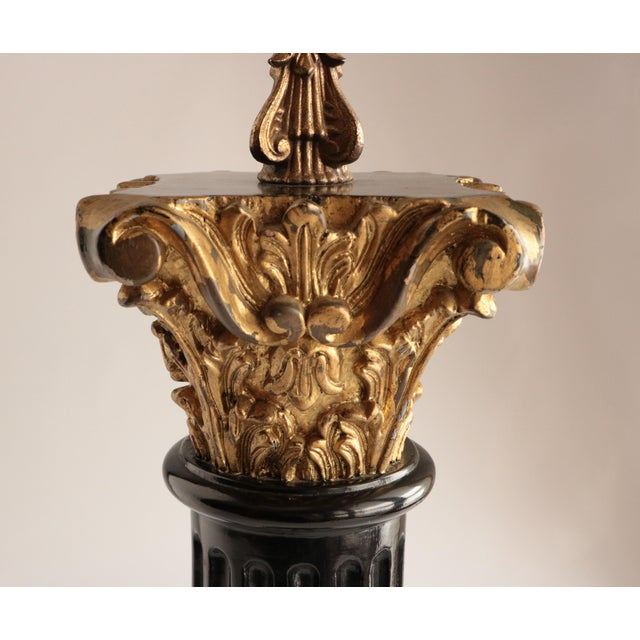 Early 20th Century Carved Wood Corinthian Column Table Lamp For Sale - Image 5 of 7