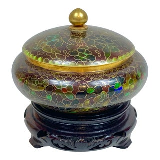 Vintage Cloisonné Lidded Jar With Stand For Sale