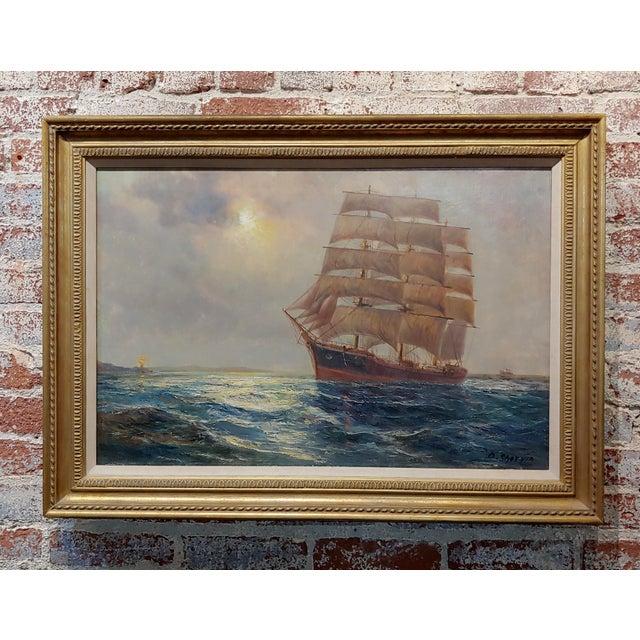 "Daniel Sherrin the Elder ""Clipper Ship"" Seascape Oil Painting, 19th Century For Sale - Image 10 of 10"