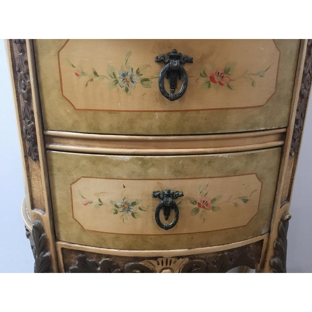 French French Style Night Stand With Hand Painted Flowers For Sale - Image 3 of 11