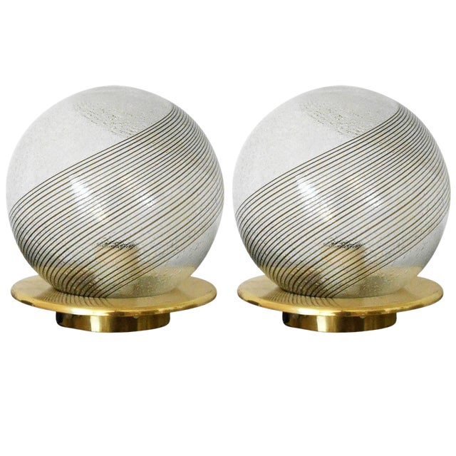 Italian Swirl Lamps by Venini - a Pair For Sale