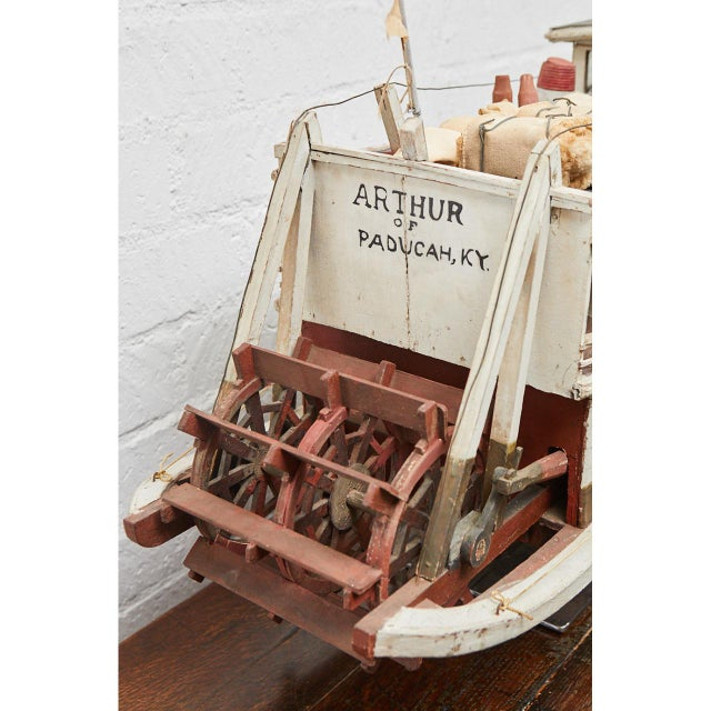 Americana Folk Art Paddle Boat 'Arthur' of Paducah, Ky For Sale - Image 3 of 10