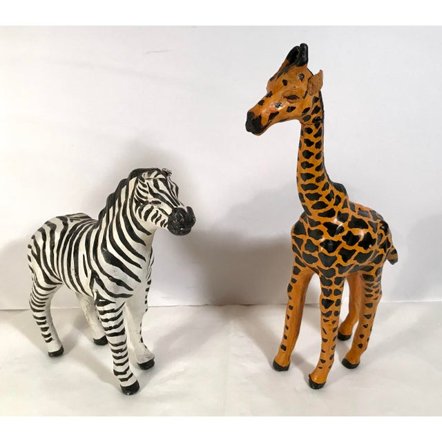 e09fee9d86 Vintage Paper Mache Giraffe and Zebra Figurines - a Pair For Sale - Image 9  of