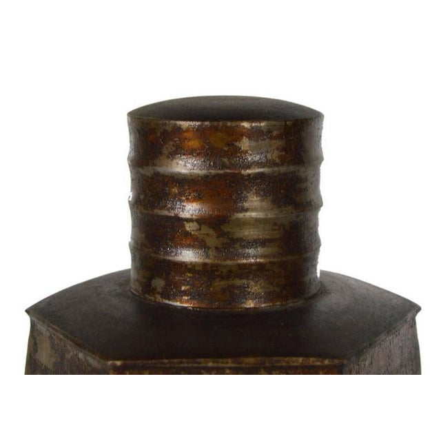 Anglo-Indian Vintage Indian Hand-Hammered Distressed Tin Storage Canister, Early 20th Century For Sale - Image 3 of 6
