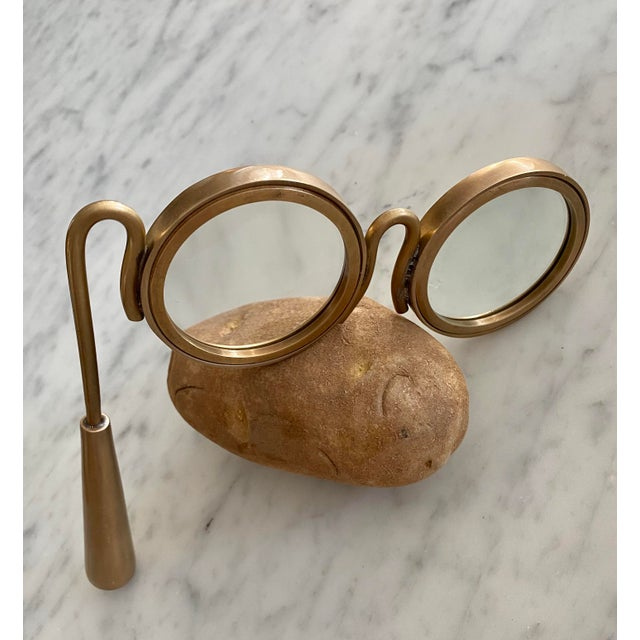 Early 21st Century Lorgnette Style Magnifying Glasses in Antique Brass For Sale - Image 5 of 6