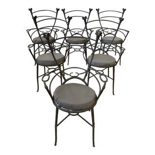 Late-20th Century Custom Maison Jensen Style Rams Head Arm Chairs - Set of Six For Sale