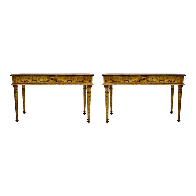 Pair of French Style Painted Marble Top Console Tables For Sale