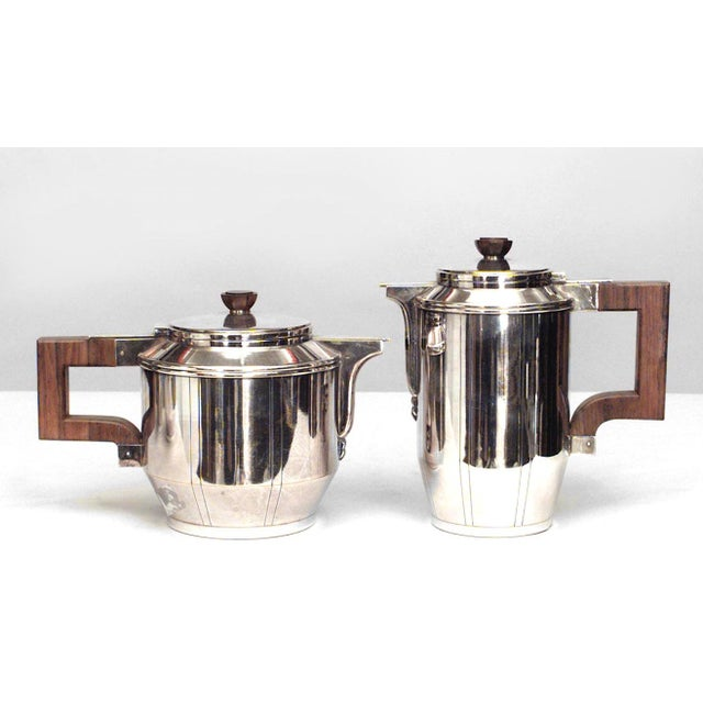 Art Deco French Art Deco Silver Plated Five-Piece Tea Set For Sale - Image 3 of 4