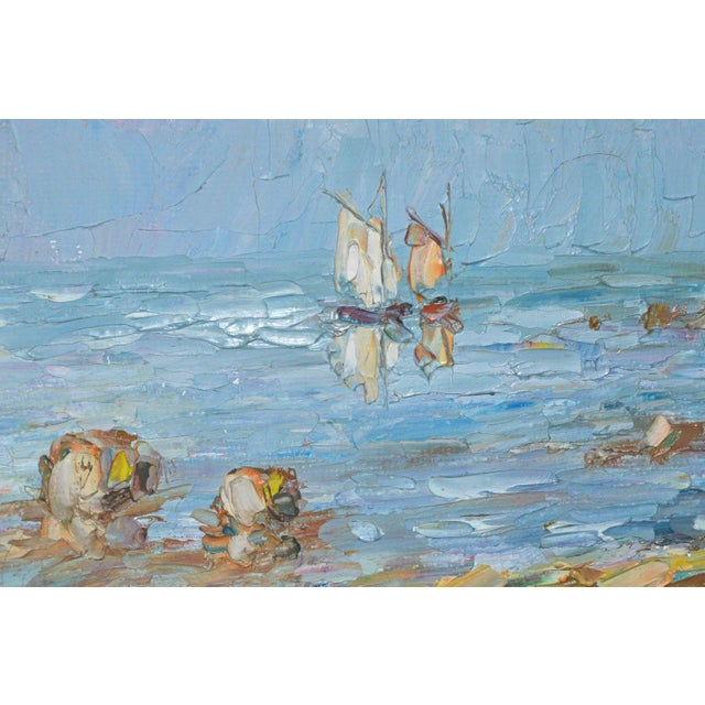 American Blue Water Landscape Oil on Canvas Painting Plein Air Gold Frame For Sale - Image 3 of 12