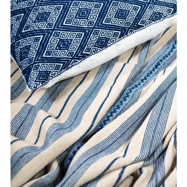 Indigo & Ecru Handwoven Blanket - Image 4 of 4