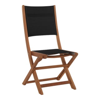 Stella Teak Outdoor Folding Chair in Black Textilene Fabric For Sale