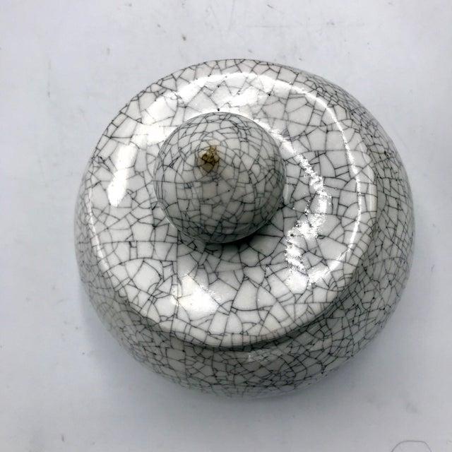 Ceramic Studio Pottery Signed Crackle Glaze Lidded Ginger Jar For Sale - Image 7 of 13