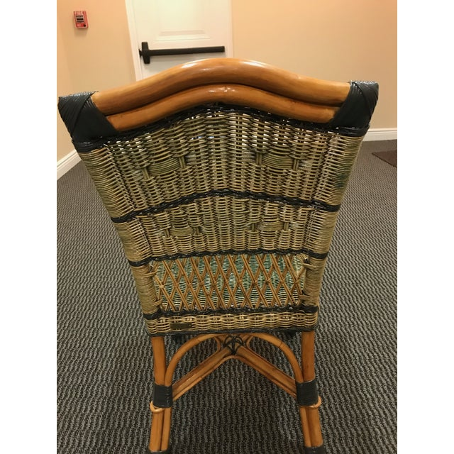 Grange Grange Stained Rattan and Wood Dining or Patio Chairs -Set of 6 For Sale - Image 4 of 8
